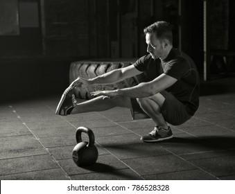 Athlete practicing pistol squats