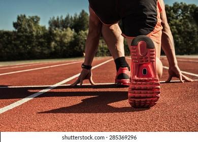 athlete ready for race stadium