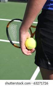 Athlete ready to serve the tennis ball