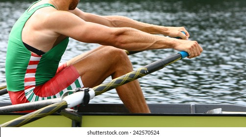 Athlete rower at the start. Rowing.