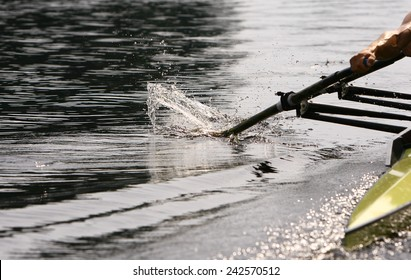 Athlete rower at the start. spray. Rowing.