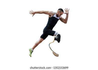 athlete runner disabled amputee explosive start to running isolated