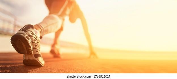 Athlete runner run on start at treadmill