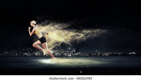 Athlete running fast