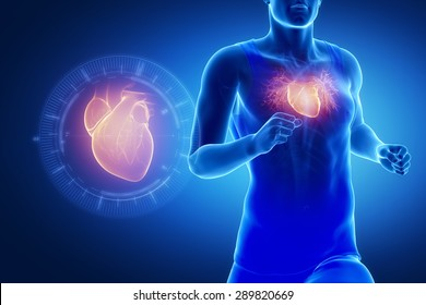 Athlete running man with healthy heart