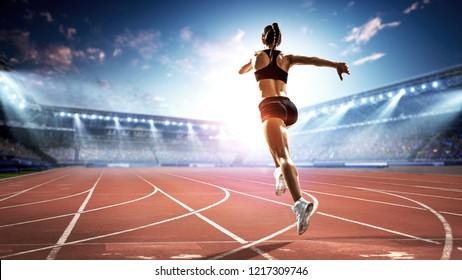 Athlete running race. Mixed media