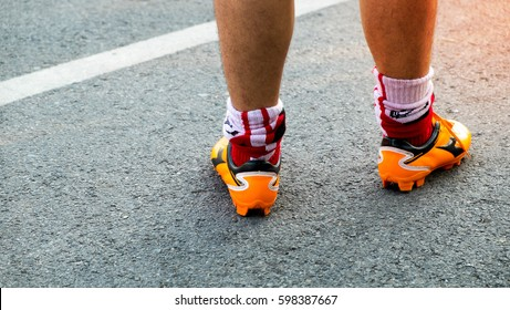 athlete running sport feet on trail healthy lifestyle fitness, close up feet with running shoes and strong athletic legs of sport man