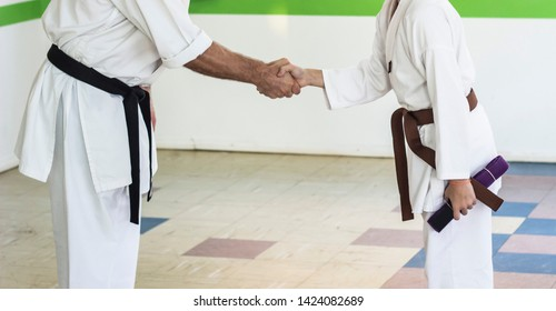 Athlete shakes the Sensei's hand after winning a brown Karate belt.