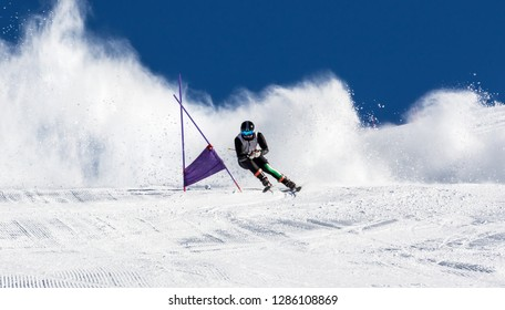 athlete in a special slalom competition