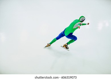 athlete speed skater in speed skating competitions on white background