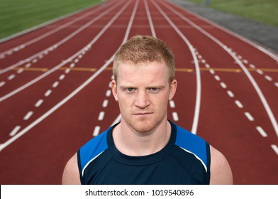 Athlete standing on track