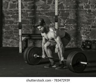 Athlete starting a heavy lift