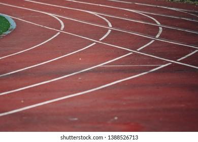 Athlete Track or Running track lines. Athletics track in stadium