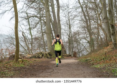Athlete trailrunning through a forest in early spring
