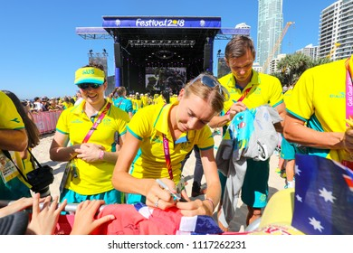 Athletes from the Australian team of the Commonwealth Games 2018 signing merchandise on the 16th April 2018 at Surfers Paradise Beach on the Gold Coast, Queensland.