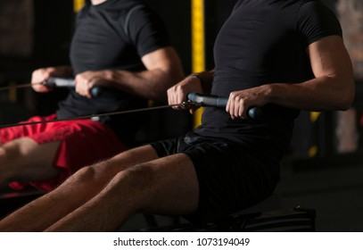 Athletes doing rowing practice