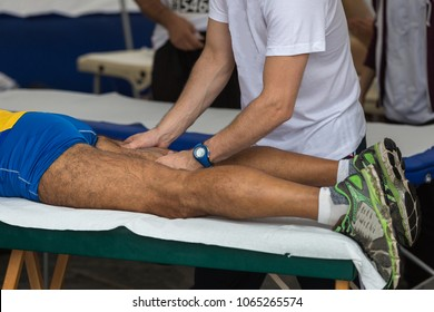 Athlete's Muscles Professional Massage Treatment after Sport Workout: Fitness and Wellness