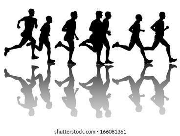 Athletes on running race on white background.