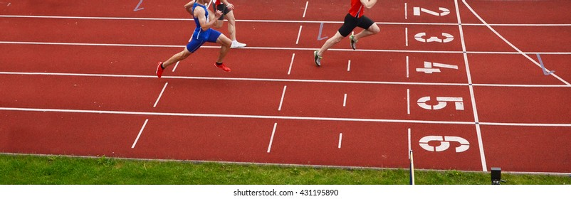 Athletes on the track. Panorama crop image, nice picture for olympic game, rio
