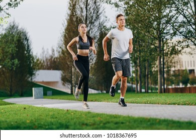 athletes run in the park, sports, athletics, woman, man