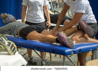 Athlete's Thig Muscle Professional Massage Treatment after Sport Workout; Fitness and Wellness