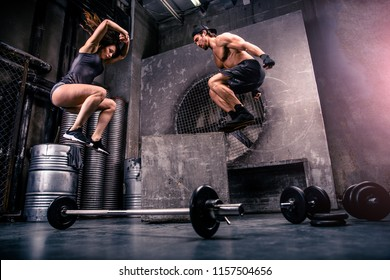Athletes training in a gym - Functional training workout