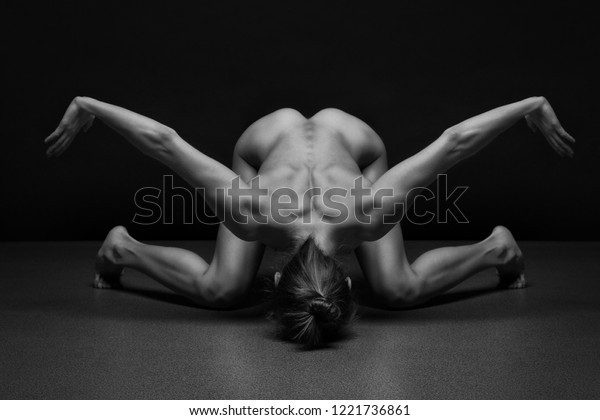 Athletic Body Young Yoga Woman Over Stock Photo Edit Now 1221736861