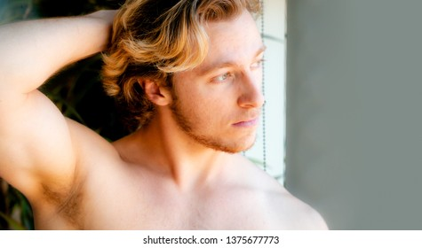 Athletic built young man - male model head and shoulder portrait