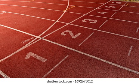 Athletic competitions starting line positions from one to six