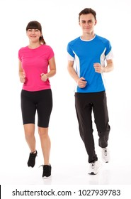 Athletic couple of teenagers running, full length over white background