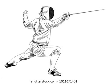 athletic fencer with swords drawn in ink by hand on a white background sketch