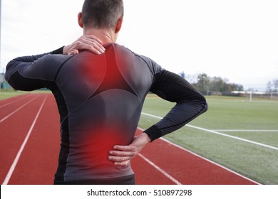 Athletic fitness man with neck and back pain. Sports exercising injury.