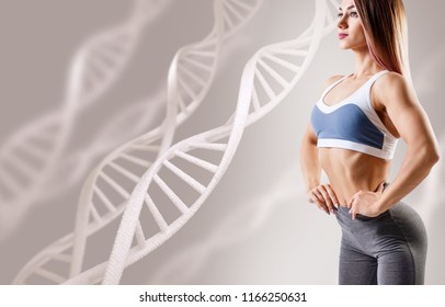 Athletic fitness woman standing among DNA chains. Metabolism concept.