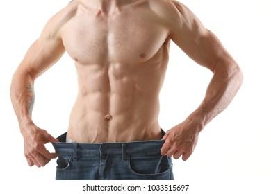 Athletic folded man slimming theme