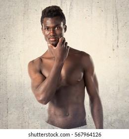 Athletic handsome black man