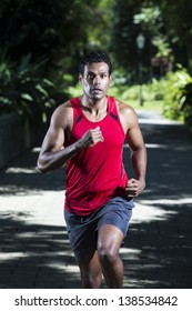 Athletic Indian man running in park. Asian Runner jogging outdoors with tree's in background. Male fitness concept.