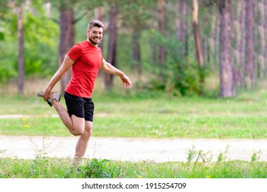 Athletic man runner stretching legs before run. Healthy, fitness, wellness lifestyle. Sport, cardio, workout concept