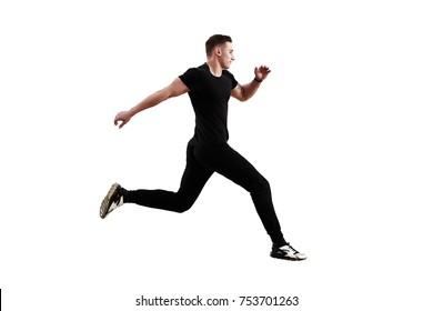 Athletic man running isolated on white background