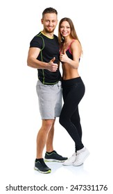 Athletic man and woman after fitness exercise with a finger up on the white background