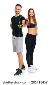 Athletic man and woman after fitness exercise with thumbs up on the white background