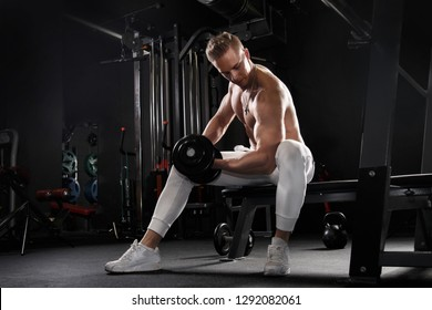 Athletic man working out with dumbbells in the gym.