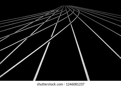 Athletic race track in white and black