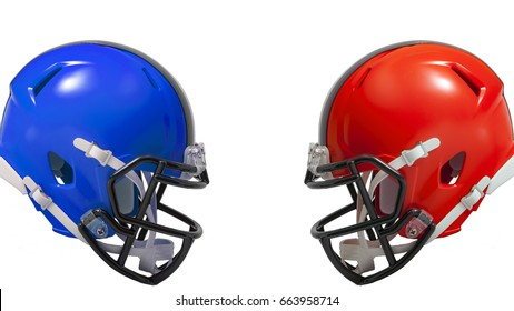Athletic rivalry, sports encounter or red vs blue concept with two american football helmets facing each other in conflict, the red helmet versus the blue helmet with copy space
