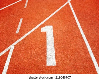 Athletic running track with number one