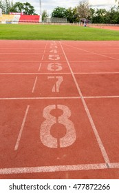 athletic track number on red rubber racetrack, texture of runnin