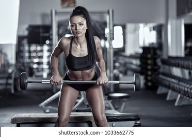 Athletic woman doing barbell rows in the gym