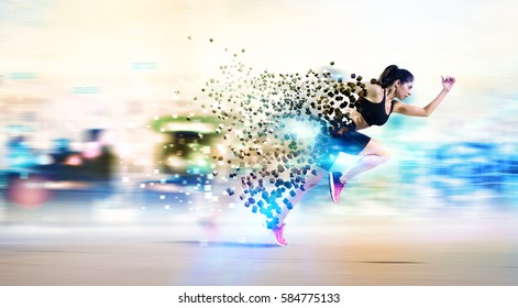 Athletic woman fast runner