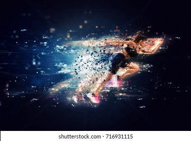 Athletic woman fast runner with futuristic effects