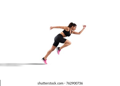 Athletic woman runner isolated on white background
