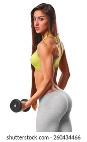 Athletic woman working out with dumbbells. Sexy beautiful ass in thong. Fitness girl, Isolated on white background